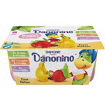 Danonino Danone Petit suisse de sabor fresa y plátano Pack 6 u x 50 g
