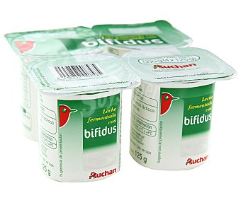 Auchan Yogur bífidus natural Pack 4 unidades de 125 gramos