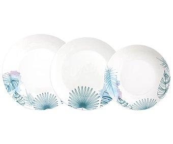 BIDASOA Bahía Vajilla completa redonda de 18 piezas de porcelana color blanco con decoración de hojas en el ala, Bahía BIDASOA.