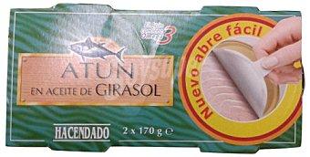 HACENDADO Atún aceite girasol (abre fácil solapín) PACK 2 x 170 g - 340 g - Escurrido 242g