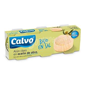 Calvo Atún claro en aceite de oliva bajo en sal Pack 3 x 52g