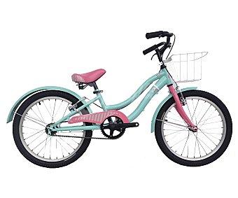 ROSETTA Bici de paseo monovelocidad de 20 pulgadas con cesta de transporte, cuadro de acero y frenos v-brake, 1 unidad