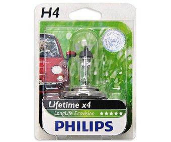 Philips Bombilla halógena para automóvil, modelo H4 Longlife Eco Visión, potencia 55/60W 1 Unidad