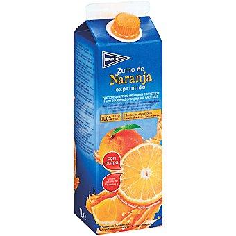 Hipercor Zumo de naranja con pulpa 100% fruta Envase 1 l