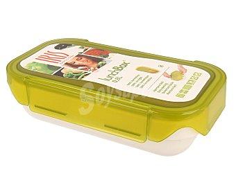 Iris Recipiente rectángular hermético Lunch Box, tapa color verde, 0,6 litros de capacidad 1 unidad