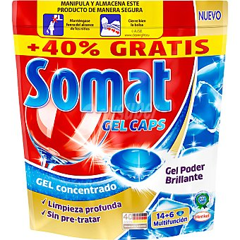 Somat Detergente lavavajillas gel concentrado Gel Caps bolsa 14 capsulas + 6 gratis