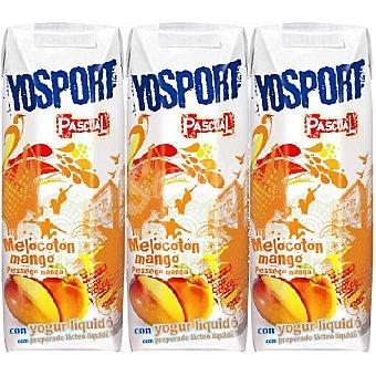 Pascual Zumo de melocotón y mango con yogurt líquido Yosport pack 3 envases 200 ml