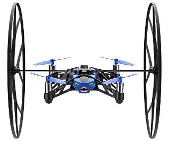 PARROT ROLLING SPIDER Mini Drones con pilotaje intuitivo a través de dispositivo móvil, Azul, ruedas desmontables, uso interior y exterior, permite hacer flips, alcance de 20m, cámara fotográfica, conexión Bluetooth.