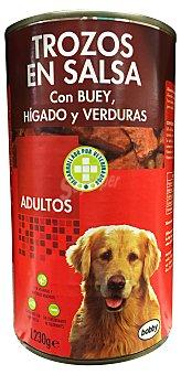 Bobby Comida perro trozos buey higado verdura adulto razas medianas y grandes Bote 1240 g