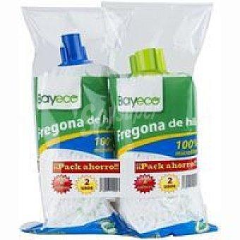 Bayeco Fregona de hilos de microfibra blanca Pack 2 unid