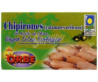 Orbe Chipirones rellenos en aceite oliva virgen extra, bajo sal, Ecológico 75 gr