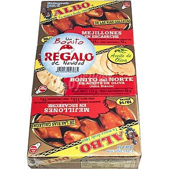 Albo Mejillones en escabeche de las rías gallegas 10-14 piezas pack 2 latas 72 g neto escurrido con regalo de una lata bonito del norte en aceite de olvia 82 g neto escurrido Pack 2 latas 72 g
