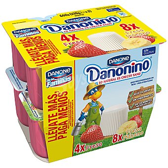 Danone Danonino Petit 4 fresa + 8 fresa y plátano Pack 12 unidades 55 g