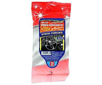 Rolmovil Paquete de 20 toallitas limpiadoras de salpicaderos con olor a manzana rolmovil