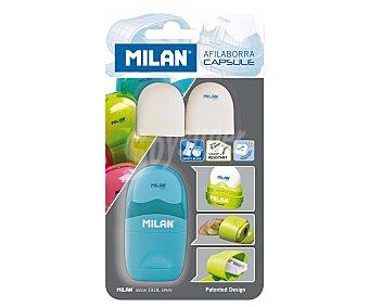 Milan Sacapuntas con cuerpo de plástico + borrador con soporte protector + 2 recambios de borrador Capsule. Este producto dispone de distintos modelos o colores. Se venden por separado SE surtirán según existencias