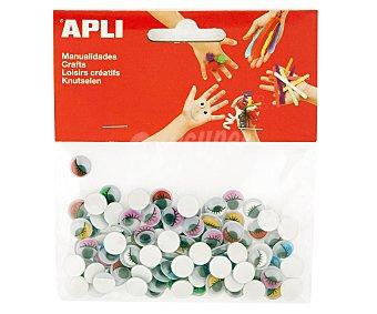 APLI Bolsa de 100 ojos móviles con pestañas adhesivos de goma eva y de diferentes colores 1 unidad