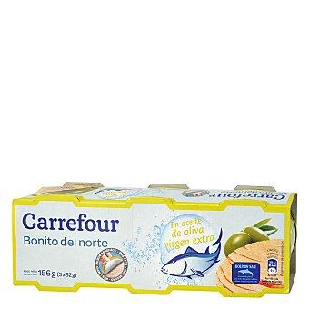 Carrefour Bonito en aceite de oliva virgen extra Pack de 3x52 g