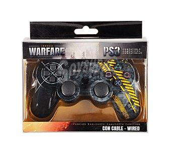 INDECA Mando con calbe y función Dual Shok para Playstation 3, modelo Warfare personalizado con insipiración bélica Mando Ps3