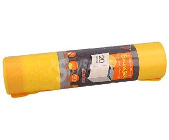 Producto Alcampo Bolsas de basura amarilla, con autocierre especial envases capacidad 20 litros