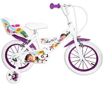 TOIMSA Bicicleta Infantil Dora la Exploradora con Portamuñecas Trasero, 1 Velocidad 14 Pulgadas 1 Unidad