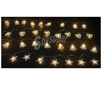 Actuel Luces de navidad con cuerpo de madera y forma de estrellas, arbolitos, ángeles o corazones y luz fija de color amarillo ACTUEL.