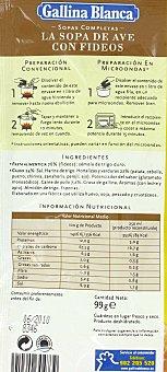 Gallina Blanca Sopa de ave con fideos 'sopas Completas' 99 g