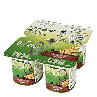 Carrefour Yogur Bífidus 0% con Muesli y cereales Pack 4x125 g