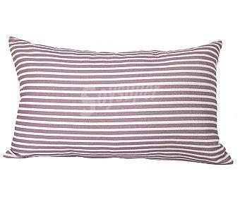 Auchan Cojín tejido panamá 100% algodón con fondo color rosa y estampado rayas color blanco, cierre de cremallera, 30x50 centímetros 1 unidad