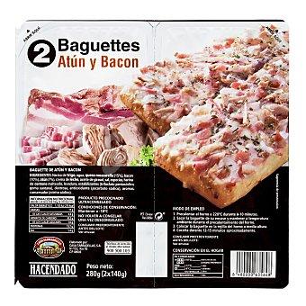 Hacendado Baguette congelado atun bacon Paquete de 2 unidades