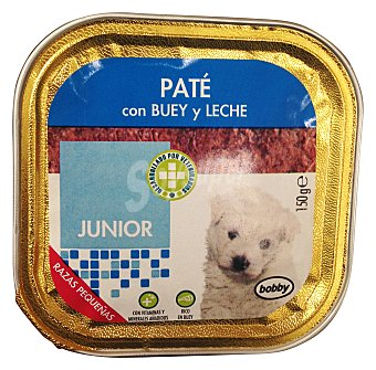 Bobby Comida perro razas pequeñas junior pate buey leche Tarrina de 150 g
