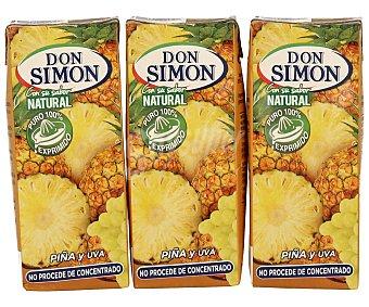 Don Simón Zumo exprimido de piña y uva sin pulpa Brick de 20 centilitros pack de 3