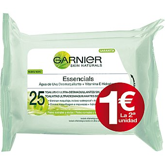 Skin Naturals Garnier Toallitas desmaquillantes vitaminadas (el 2º frasco sale por solo 1€) Pack 2 paquete 25 unidades