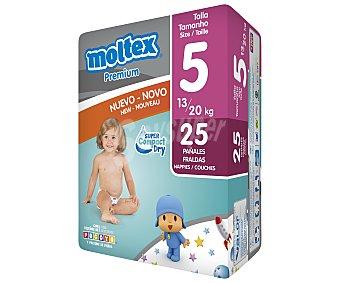 Moltex Pañales para niños de 13 a 20 kilogramos, talla 5 25 unidades