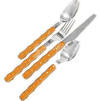 CASACTUAL Cubertería 24 piezas con mango en ABS 6 servicios en color naranja