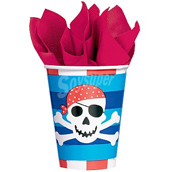 LIRAGRAM Vaso cartón decorado Tesoro Pirata 266 ml 8 unidades