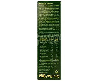 Gullón Barritas de fibra Pack de 6 unidades de 36 gramos