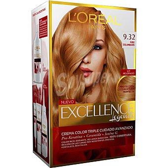 Excellence L'Oréal Paris Tinte Rubio Deslumbrante nº 9.32 crema color triple cuidado caja 1 unidad con Pro-keratina + Ceramida + Colágeno Caja 1 unidad