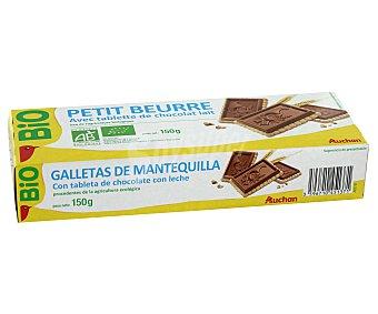 Auchan Galletas con tableta de chocolate con leche ecológica 150 gramos