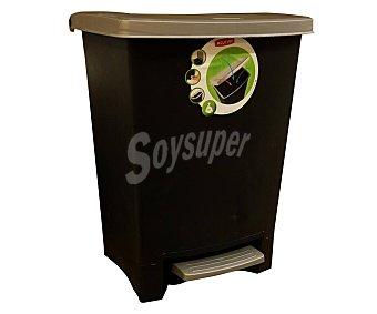Curver Cubo de basura con pedal capacidad , negro y plata 25 litros