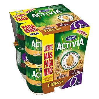 Activia Danone Yogur 0% fibras cereales + 0% fibras con muesli Danone 8 unidades de 125 g
