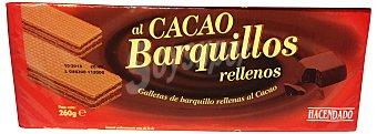 Hacendado Barquillo cuadrado relleno cacao Paquete 260 g