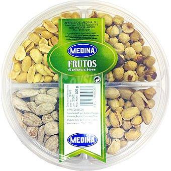 Medina Surtido selección de 4 frutos secos con avellanas, almendras, cacahuetes y pistachos Bandeja 400 g