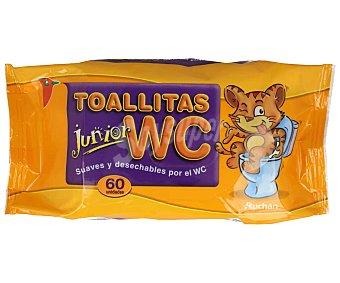 Auchan Toallitas suaves y desechables por el WC, especiales para niños Junior 60 uds