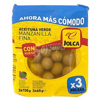 Jolca Aceitunas verdes manzanilla con hueso Pack de 3 bolsas de 50 g