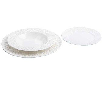 BIDASOA Optical Vajilla completa de 18 piezas redondas fabricadas en porcelana blanca con decoración en relieve en el alca, Optical bidasoa.