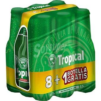 Tropical Cerveza rubia nacional Pack 8 botellas 25 cl + 1 gratis