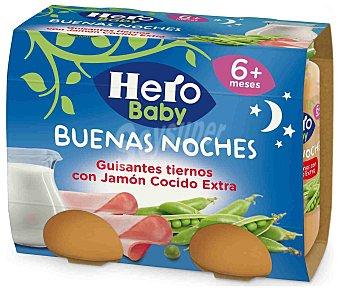 Hero Baby Buenas Noches Tarritos de guisantes tiernos con jamon cocido extra desde 6 meses Estuche 2 x 200 g