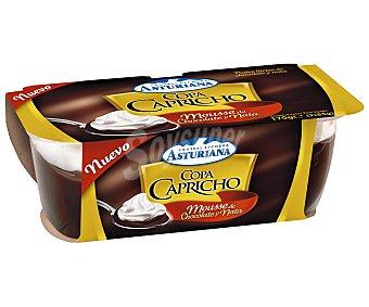 Central Lechera Asturiana Copa Capricho Chocolate-Nata 2 Unidades de 85 Gramos