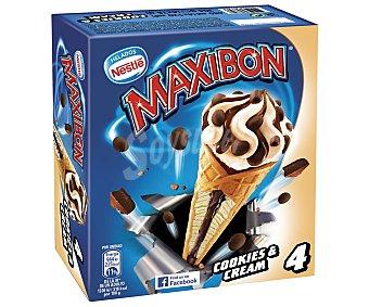 Maxibon Nestlé Cookies & Cream cono con helado de vainilla y chocolate con galleta estuche 440 ml 4 unidades