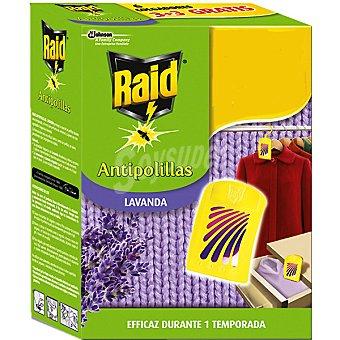 Raid Colgador antipolillas lavanda natural Caja 3 unidades